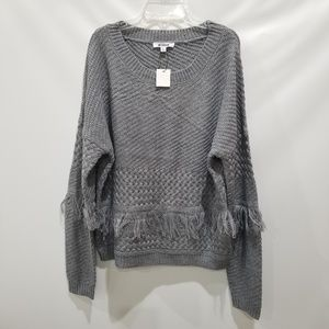 BB Dakota Mix It Up Heather Gray Fringe Sweater L